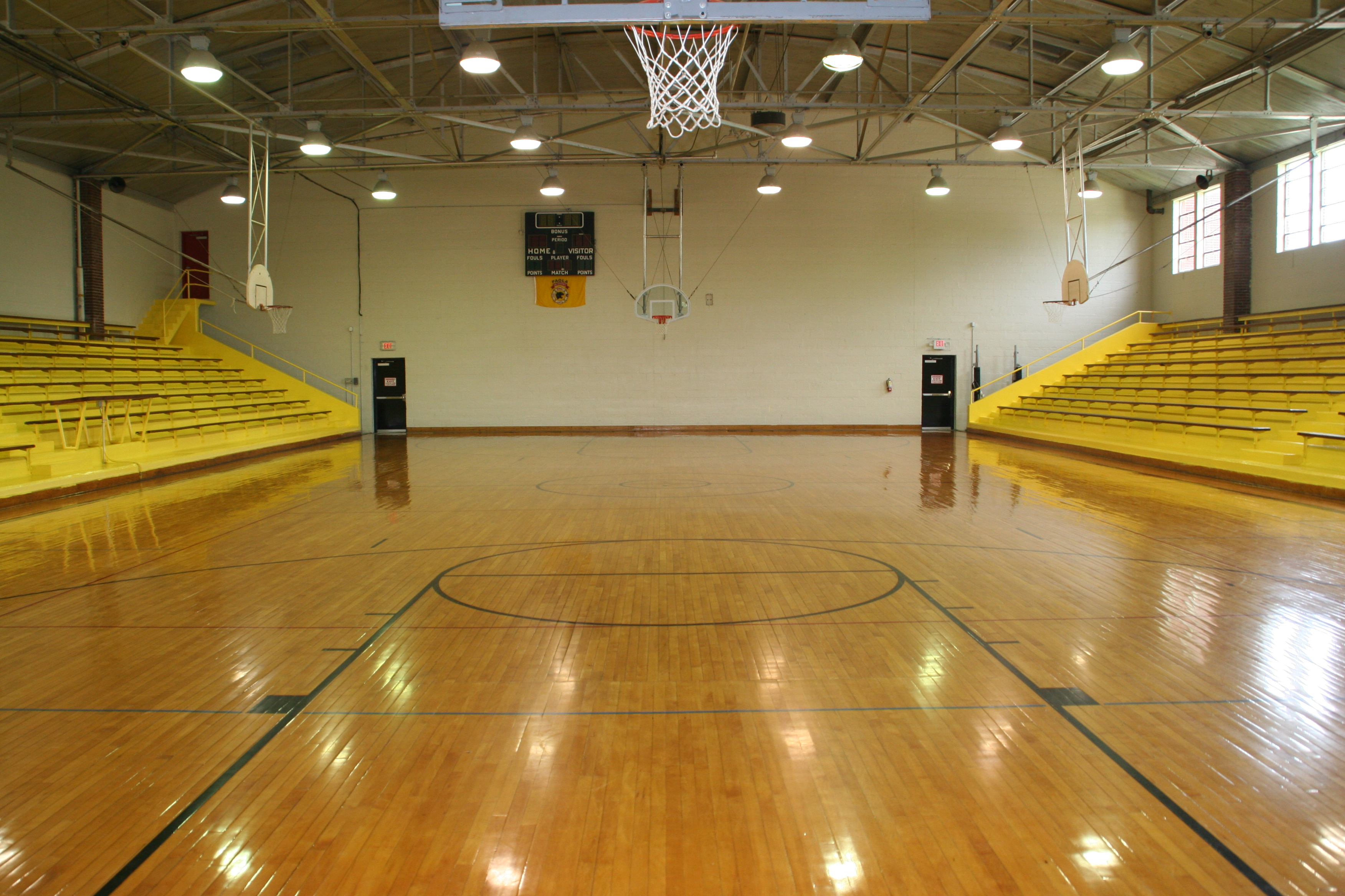Indoor basketball court background